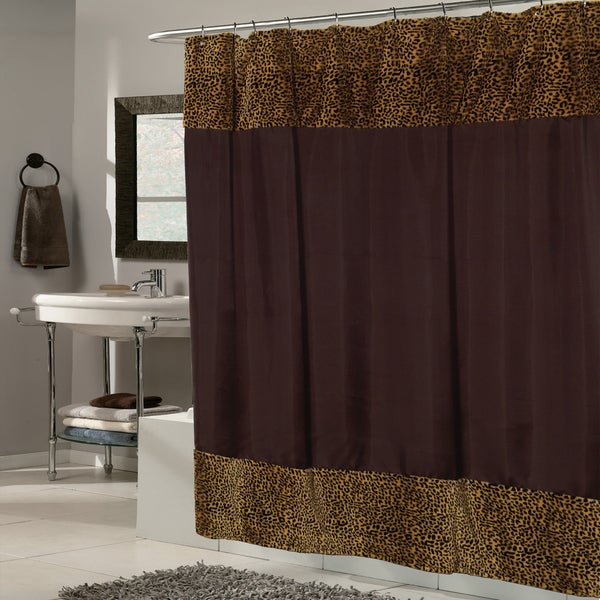 Brown Fabric With Cheetah Faux Fur Trim Shower Curtain