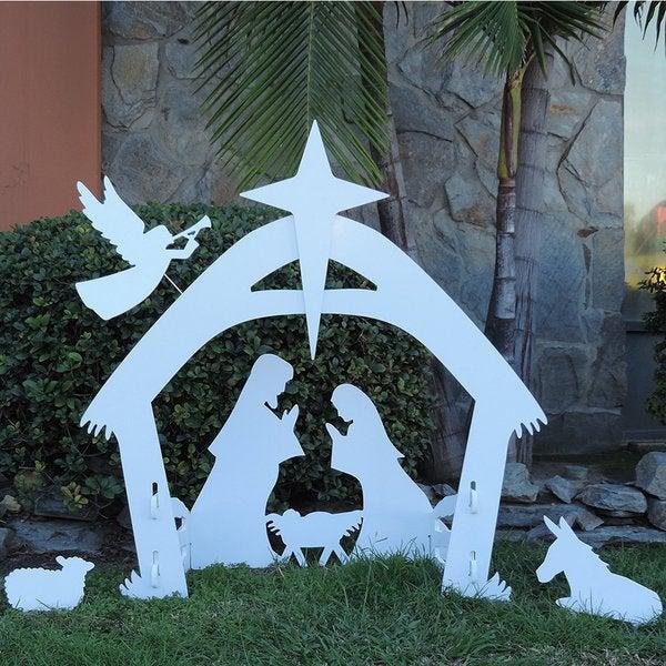 Giant Outdoor Nativity Scene White PVC Large Christmas Yard Decoration Set