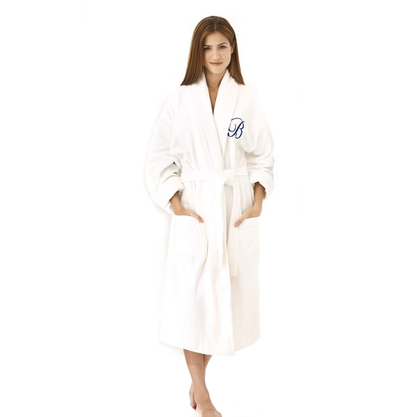 White Shawl Collar Robe with Navy Monogram