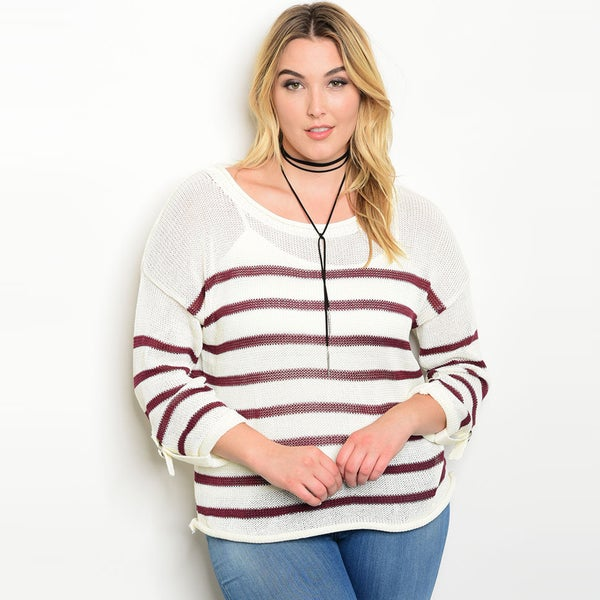 Shop The Trends Women's Charcoal/Wine Polyester Plus Size Long-sleeved Slub Knit Sweater Top