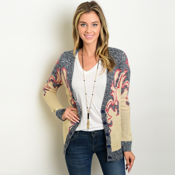 Shop the Trends Women's Grey and Beige Acrylic Long-sleeved Chunky-knit Cardigan Sweater with Buttondown Closure