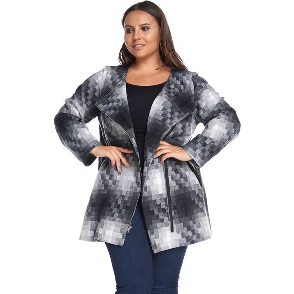 Hadari Women's Plus Size Fashion Zipper Slim Black Coat Jacket