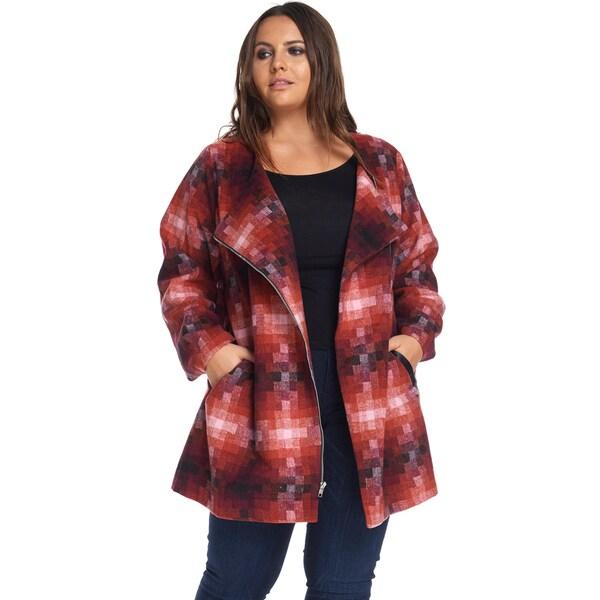 Hadari Women's Plus Size Fashion Zipper Slim Burgundy Coat Jacket