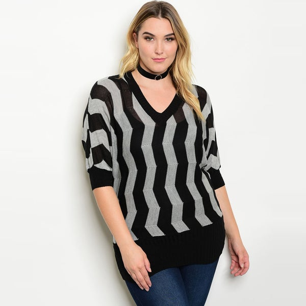 Shop the Trends Women's Black and Grey Knit Plus-size 3/4-sleeve Zig-zag Print Sweater 22217416