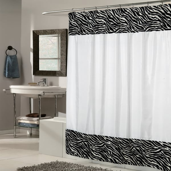 White Fabric With Zebra Faux Fur Trim Shower Curtain