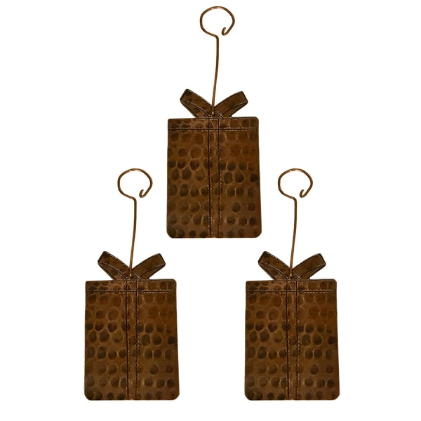 Hand Hammered Copper Present Christmas Ornament - Quantity of 3