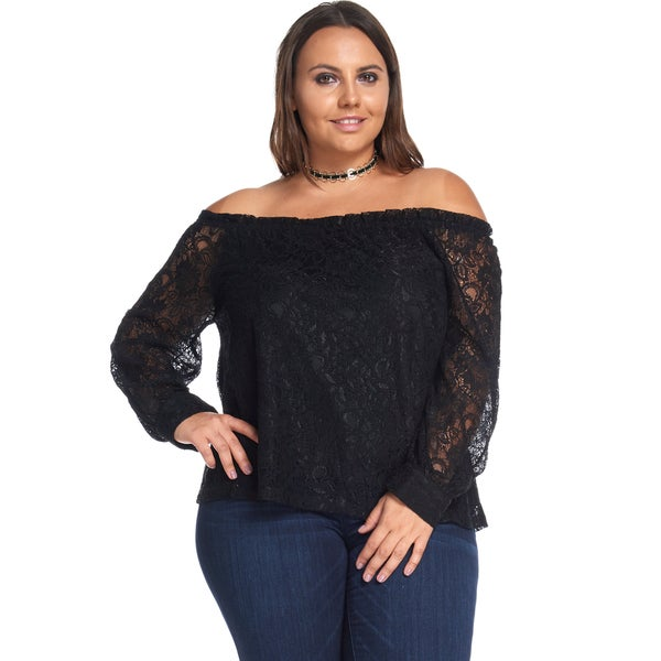 Hadari Women's Plus Size Sexy Sequin Lace Chiffon Black Off Shoulder Blouse