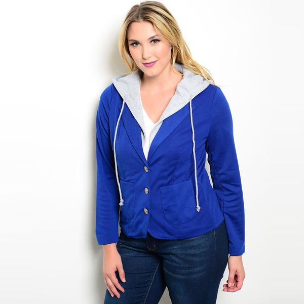 Shop The Trends Women's Plus Size Long-sleeve Blue Cotton/ Polyester Jacket With Drawstring Hoodie