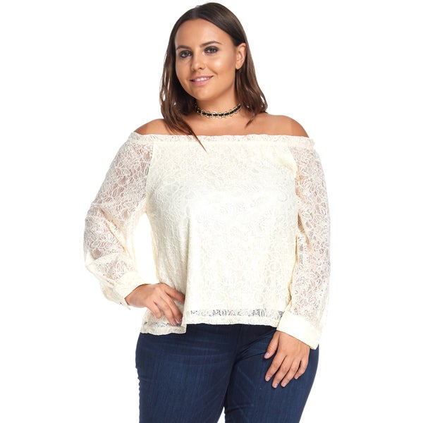 Hadari Women's Plus Size Sexy Sequin Lace Chiffon Ivory Off Shoulder Blouse