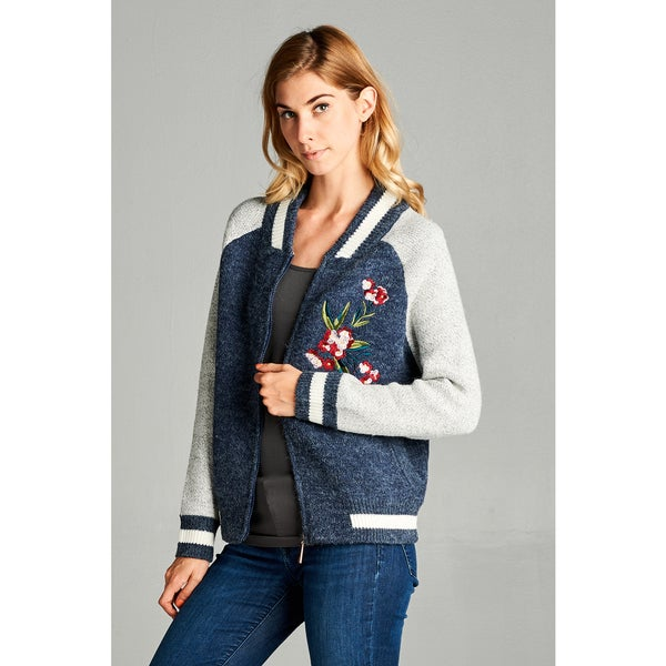 Spicy Mix Women's Dalary Navy Blue Fuzzy Knit Embroidered Bomber Jacket