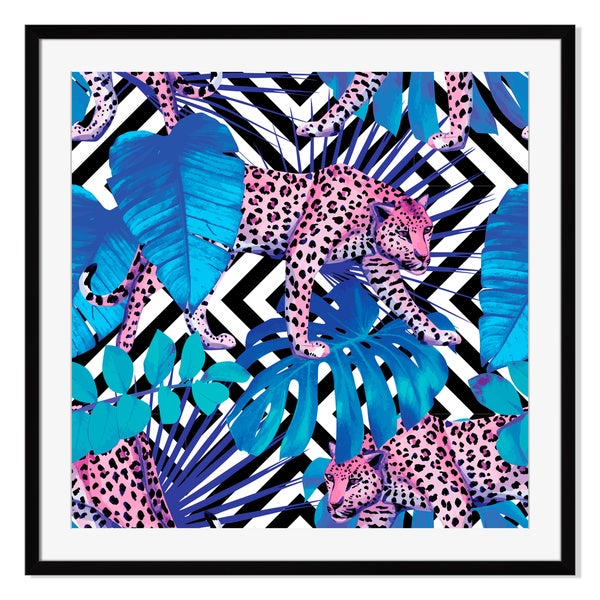 Leopard and tropical plants, Framed Paper Print