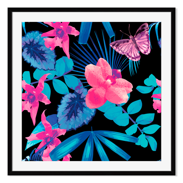 Butterflies and palm, Framed Paper Print