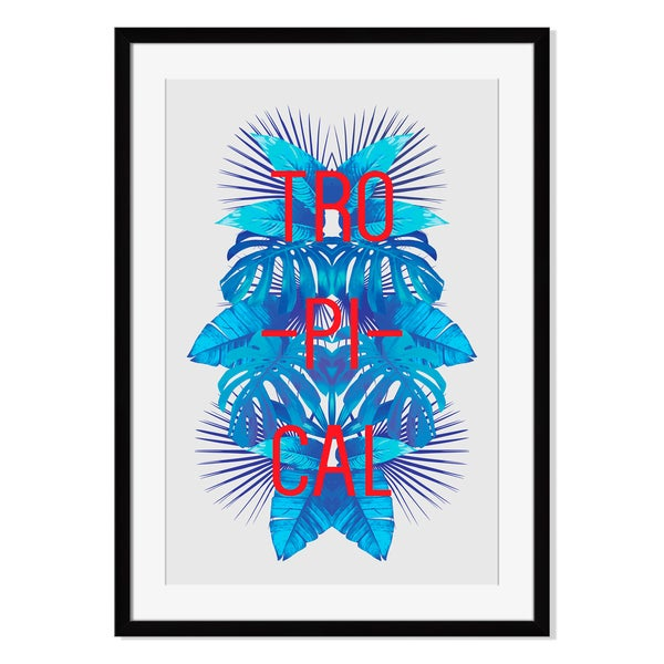 Blue tropical leaves I, Framed Paper Print