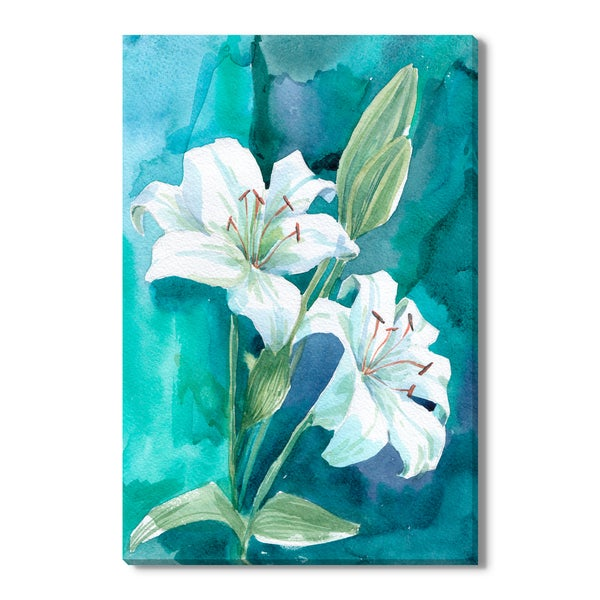 White lily watercolor illustration, Canvas Gallery Wrap