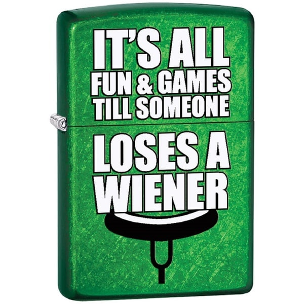 Classic Zippo It's All Fun & Games Matte Green Lighter