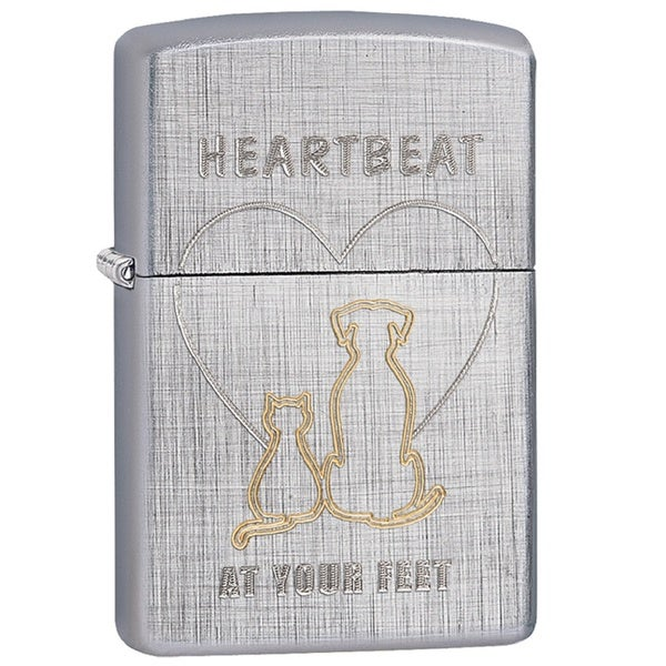 Zippo Classic Heartbeat at Your Feet Linen Weave Lighter