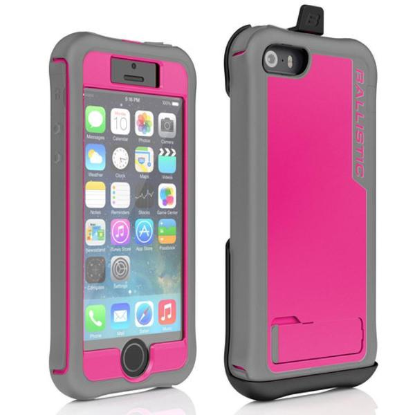 Ballistic EV0993-M111 Every1 Series Pink and Grey Case for iPhone 5 with/ Kickstand, Holster, and Built-in Screen Protector