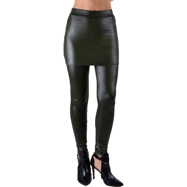 Dinamit Juniors' Faux Leather Liquid Wet Look Skirt-Leggings