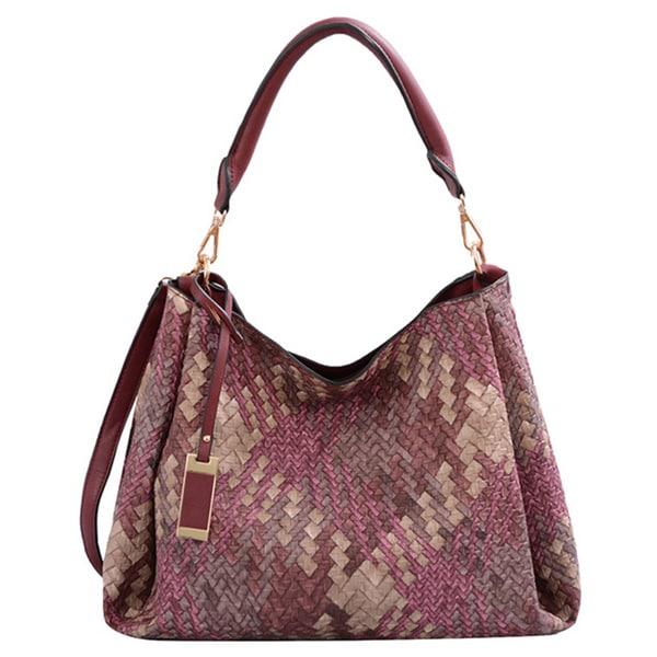 Mellow World Brianna Burgundy Lattice Shoulder Handbag