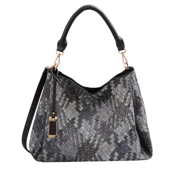 Mellow World Brianna Grey Lattice Shoulder Handbag