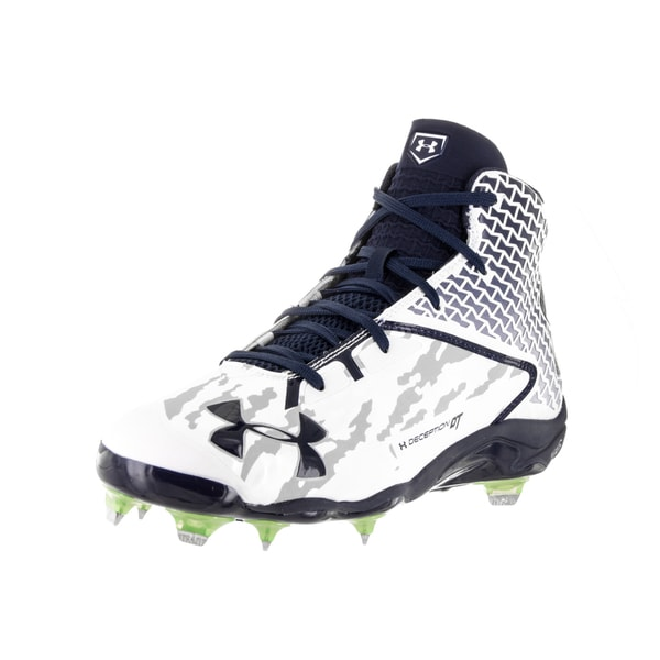 Under Armour Men's UA Deception Mid White Baseball Cleats 22219756