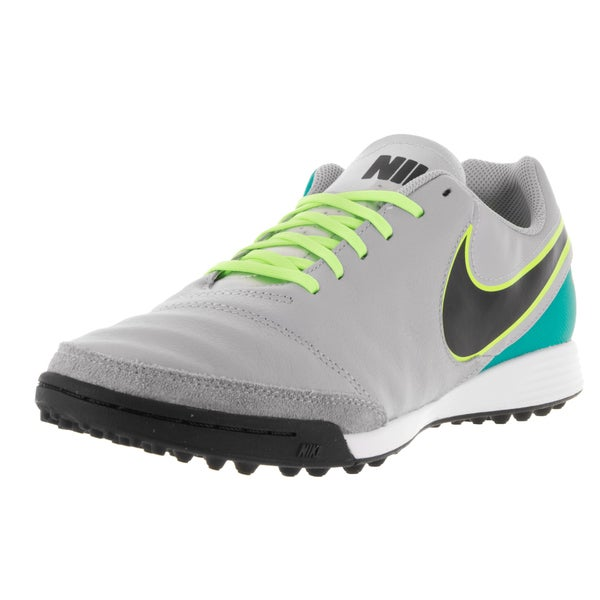Nike Men's Tiempox Genio II TF Wolf Grey/Black/Clr Jd/Metallic Silver Leather Turf Soccer Shoe