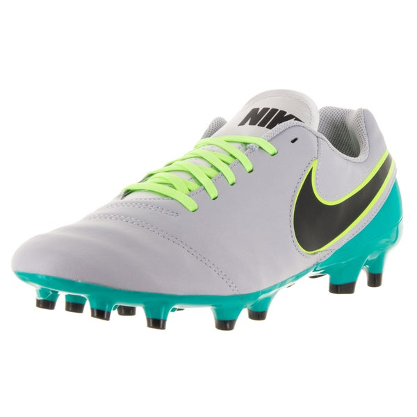 Nike Men's Tiempo Genio II Wolf Grey, Black, Clear Jade, and Metallic Silver Leather Soccer Cleats