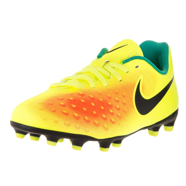 Nike Kids Jr Magista Ola II Volt Yellow, Black, Total Orange, Clear Jade Synthetic Soccer Cleats