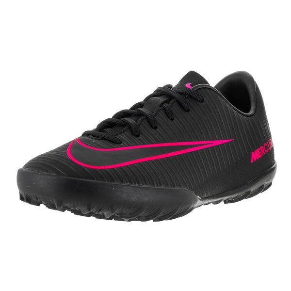 Nike Kids' Jr Mercurial Vapor XL Black and Pink Blast Synthetic Turf Soccer Shoes