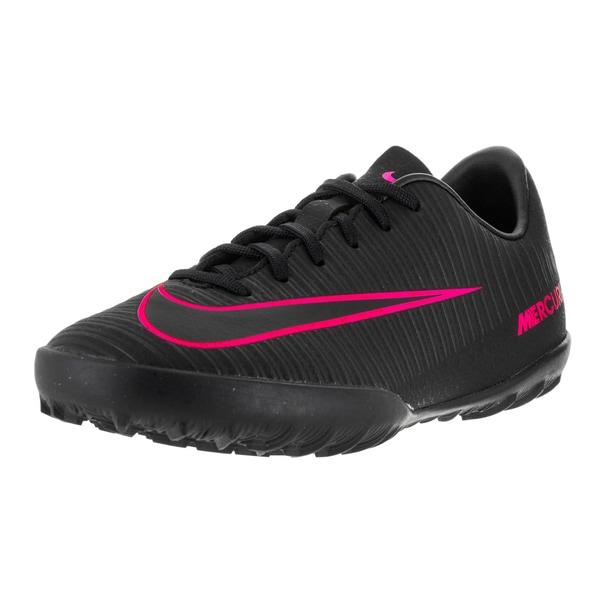 Nike Kids' Jr Mercurial Vapor XL Black and Pink Blast Synthetic Turf Soccer Shoes