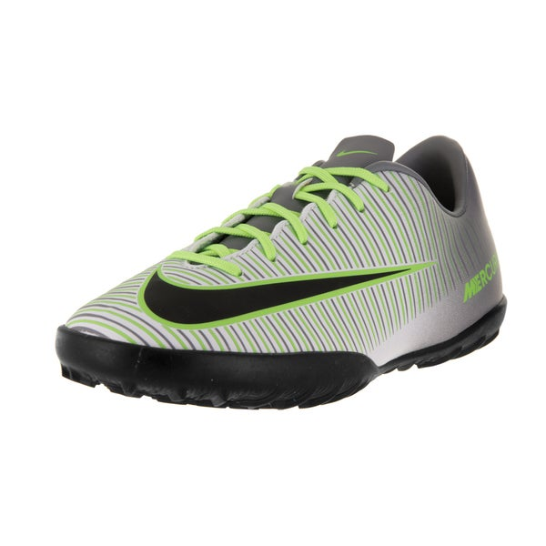 Nike Kids' Jr Mercurial Vapor XI Pure Platinum, Black, Ghost Green, and Clear Jade Synthetic Turf Soccer Shoes
