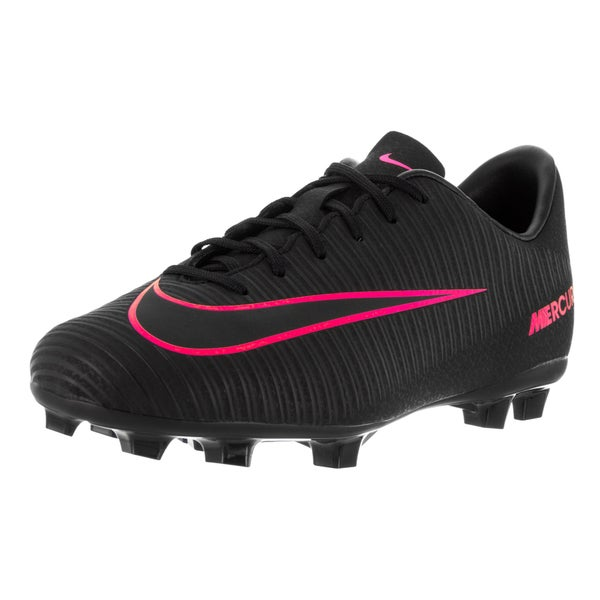 Nike Kids Jr Mercurial Vapor XI Fog Black/Black/Pink Blast Soccer Cleat