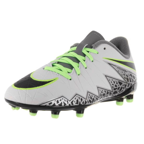 Nike Kids Jr Hypervenom Phelon II Grey Plastic Soccer Cleats