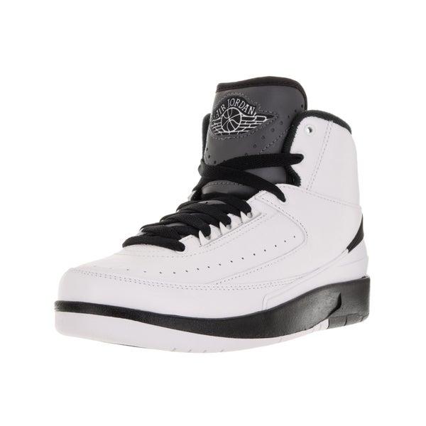 Nike Kids' Air Jordan 2 Retro BG White, Black, and Dark Grey Basketball Shoe