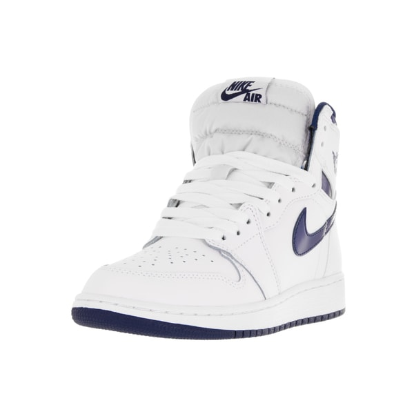 Nike Jordan Kids Air Jordan 1 Retro High Og BG White/Midnight Navy Basketball Shoe