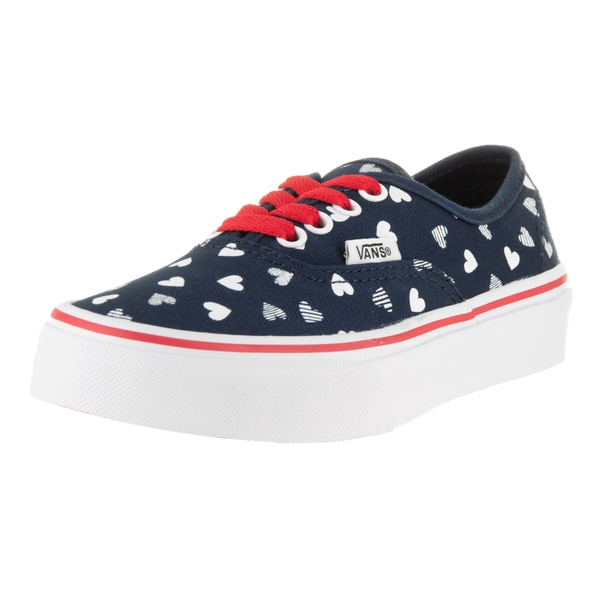 Vans Kids Authentic Hearts Girls' Blue and White Canvas Skate Shoe