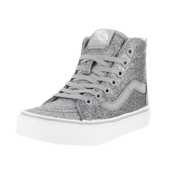 Vans Kids Sk8-Hi Zip Shimmer Silver Textile Skate Shoe