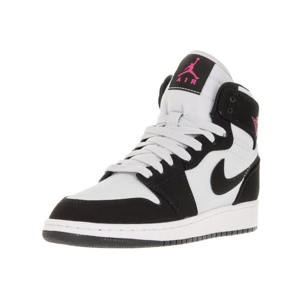Nike Jordan Kids' Air Jordan 1 Retro High Pure Platinum, Vivid Pink, Black, and White Textile Basketball Shoes