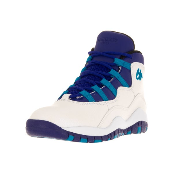 Nike Jordan Kids' Jordan 10 Retro White, Concord Blue, and Lagoon Black Leather Basketball Shoes