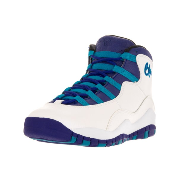 Nike Jordan Kids Air Jordan 10 Retro Bg White/Concord Blue Lagoon/Black Basketball Shoe