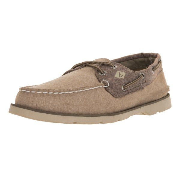 Sperry Top-sider Men's Leeward Chambray Tan/Chocolate Canvas Boat Shoe