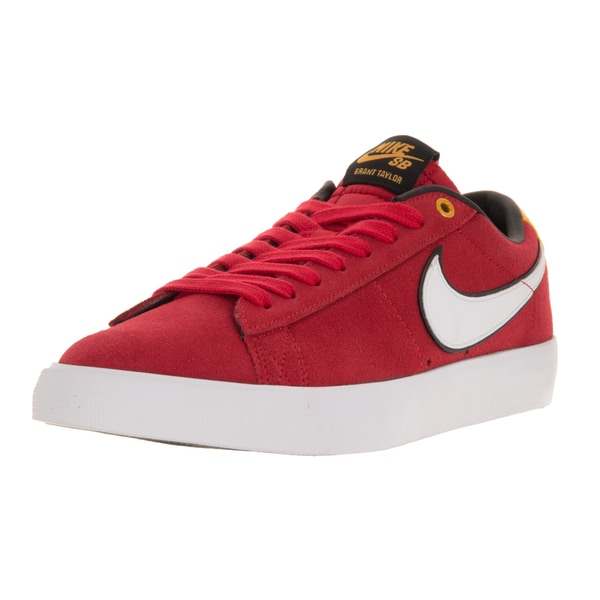 Nike Men's Blazer Low GT Universty Red, White, and Black Suede Skate Shoes