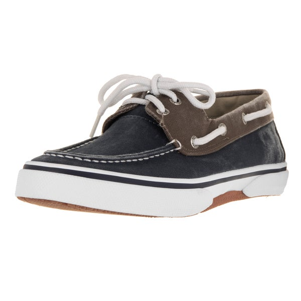 Sperry Top-Sider Men's Halyard 2-Eye Navy and Chocolate Boat Shoe
