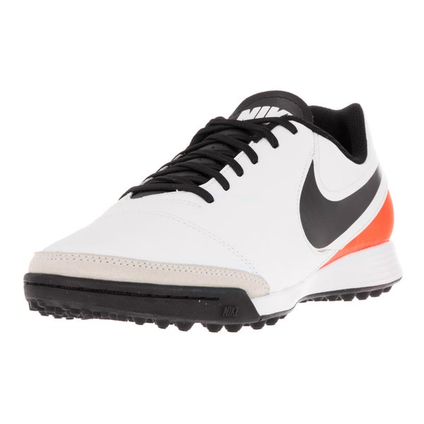 Nike Men's Tiempo Genio II White/Black Total Orange Leather Turf Soccer Shoe