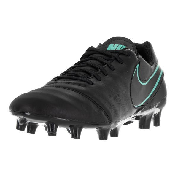 Nike Men's Tiempo Genio II Leather FG Black/Black/Hyper Turquoise Soccer Cleat