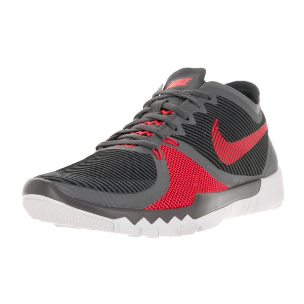 Nike Men's Free Trainer 3.0 V4 Dark Grey, Bright Crimson, Black, and White Fabric Training Shoes
