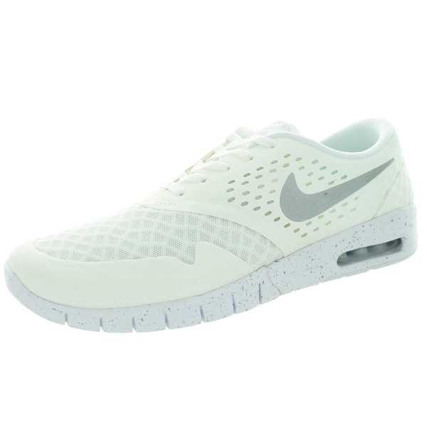 Nike Men's Eric Koston 2 Max White, Metallic Silver, and Black Fabric Running Shoes