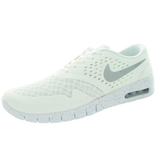 Nike Men's Eric Koston 2 Max White, Metallic Silver, and Black Fabric Running Shoes