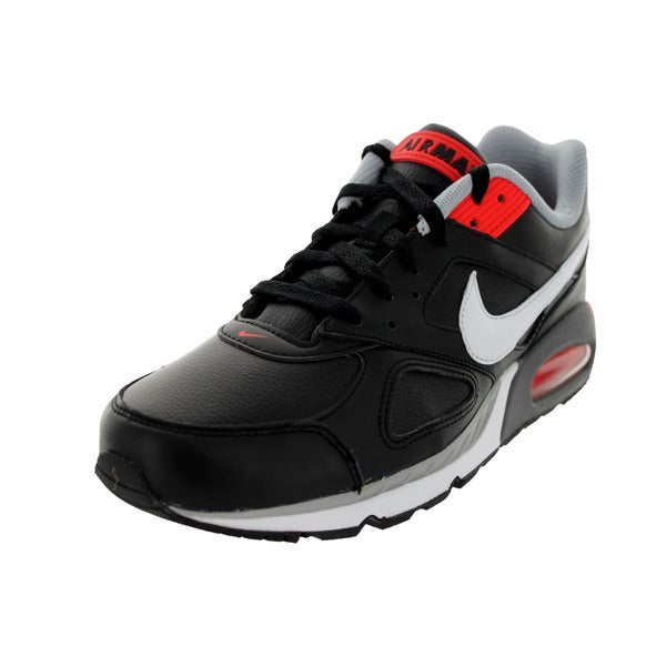 Nike Men's Air Max IVO LTR Black, White, Light Crimson, Wolf Grey Leather Running Shoes Size 9