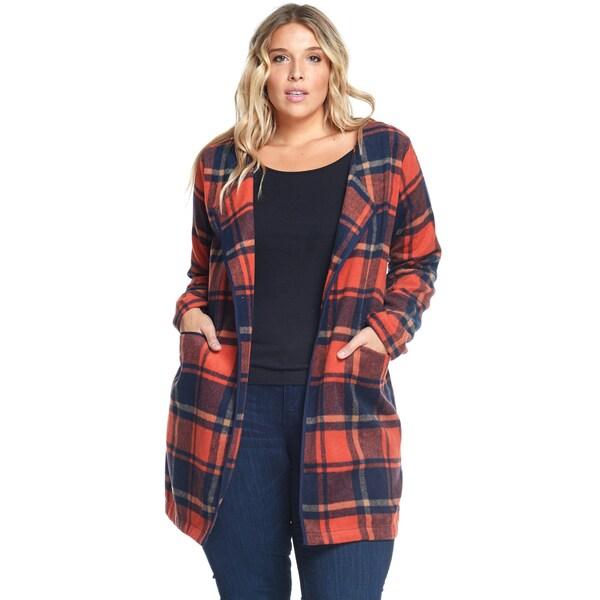 Hadari Women's Plus Size Casual Fashion Plaid Rust Wool Coat Jacket